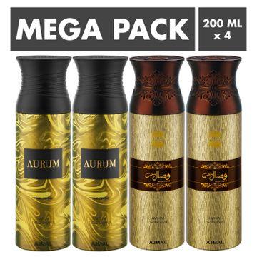 Ajmal | Ajmal Aurum & Wisal Dhahab Deodorant Spray- For Men & Women (200 ml, Pack of 4)