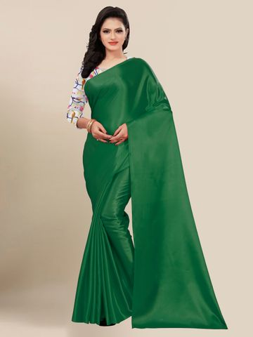 SATIMA | FANCY DARK GREEN SOLID CASUAL WEAR SAREE