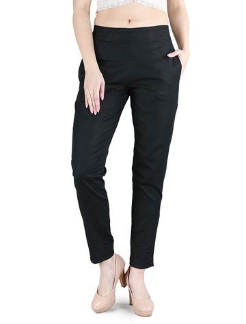 DEVS AND DIVAS | DEVS AND DIVAS Black Cotton Linen Trouser for Women