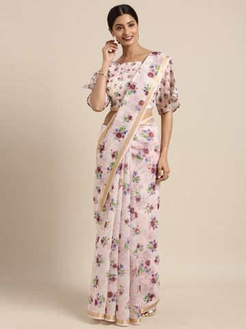 SATIMA | Pink & MultiChandari CottonFloral Print with zari