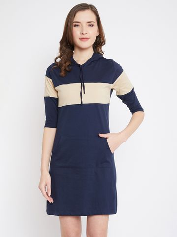Jhankhi | Women's Blue-Beige Colorblocked Shift Dress
