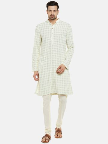 Ethnicity | Viscose Rayon Full Sleeve Straight Men Pista Green Kp Set
