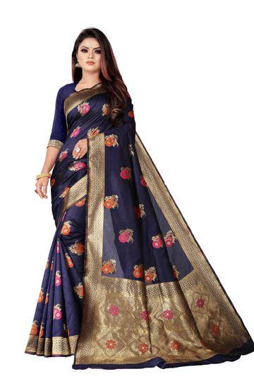 POONAM TEXTILE   Banarasi Jacquard Silk Blend Blue Festive Woven Saree