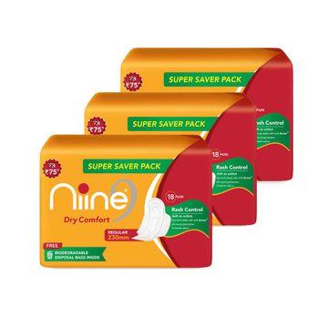 NIINE | Niine Dry Comfort Regular SUPER SAVER PACK Sanitary Napkins for Women