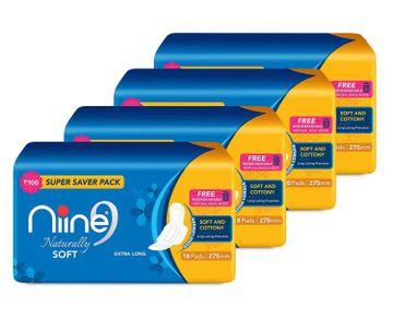 NIINE | Niine Naturally Soft Extra Long Sanitary Pads for Women (Pack of 4)