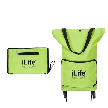 iLife | iLife Collapsible Trolley Bags Folding Shopping Bag with Wheels Foldable Shopping Cart Reusable Shopping Bags Grocery Bags Shopping Trolley Bag on Wheels (Green)