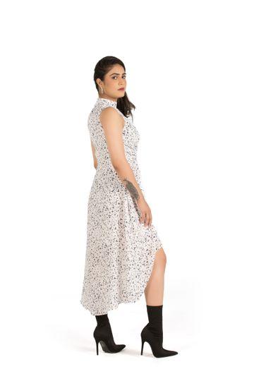 EUDORA CUT | White Key Hole Neck Dress