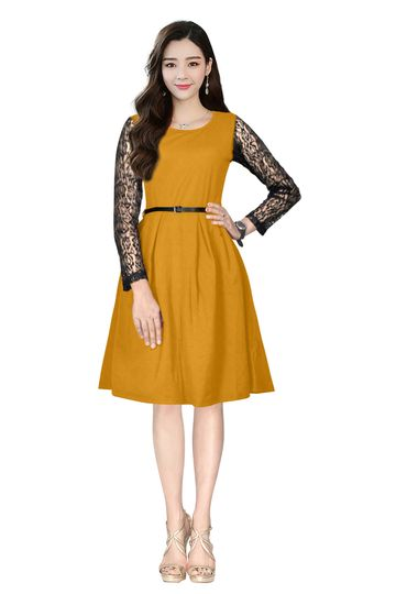 POONAM TEXTILE | A-line Yellow Solid Formal Dress