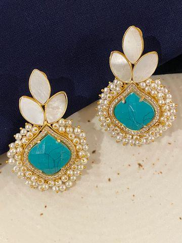 Swabhimann Jwellery | Swabhimann Anvi Druzy Earrings with Ferozi and White Stones