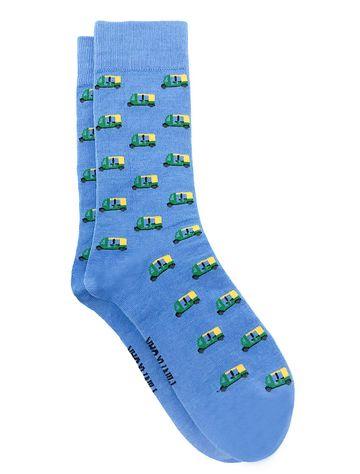 Mint & Oak | Mint & Oak The Auto  Blue Calf Length Socks for Men