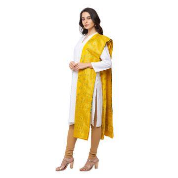 Ethnicity   Ethnicity Brocade Straight Women Yellow Dupatta