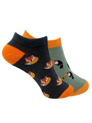 Mint & Oak | Mint & Oak Orange Pop Ankle Length Socks for Women - Combo Pack of 2