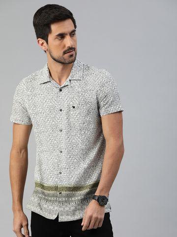The Bear House   Men's Printed Bowling Collar Shirt