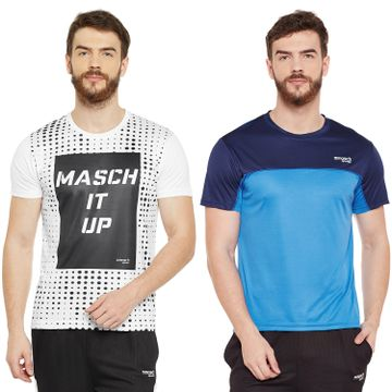 Masch Sports | Masch Sports Mens Polyester Printed & Colourblocked T-Shirts- Pack of 2 (White,Azure Blue & Navy Blue)