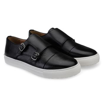 Hats Off Accessories | Hats Off Accessories Genuine Leather Black Monk Strap Sneakers