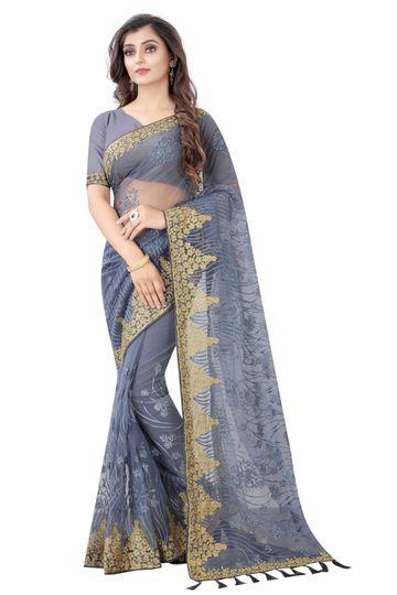 JINAL & JINAL | JJ Women's Tissue Net Chikankari Saree with Motif Stone Work -Grey-2