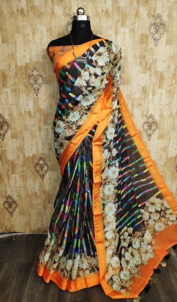 SATIMA | Satima Multi color Satin digital print saree