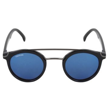CREATURE | CREATURE Round Unisex Sunglasses (Lens-Blue|Frame-Black)