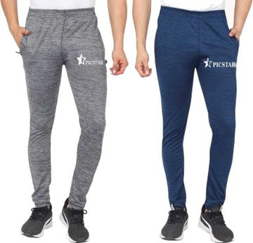 Picstar | PICSTAR Men Grey and Dark Blue Track Pants Combo