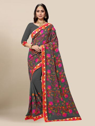 SATIMA | Women Dark Grey Georgette Embroidered Party Saree