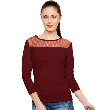 POONAM TEXTILE | Captivating Maroon Casual Wear T-Shirt