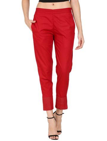 DEVS AND DIVAS | DEVS AND DIVAS Maroon Linen Zari Pant Trouser For Women