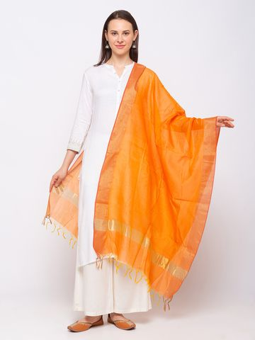Ethnicity | Ethnicity Chanderi Straight  Women Orange Dupatta
