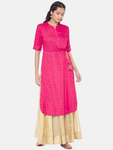Ethnicity | Liva Elbow Sleeve Flared Women Red Dress