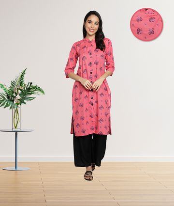 Fabclub | Fabclub Cotton Floral Printed Front Slit Straight Women Kurti (Pink)