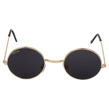 CREATURE | CREATURE Round UV Protected Unisex Sunglasses (Lens-Black|Frame-Golden)