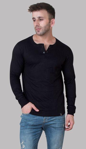 VEIRDO | Veirdo Black Henley Men T-shirt