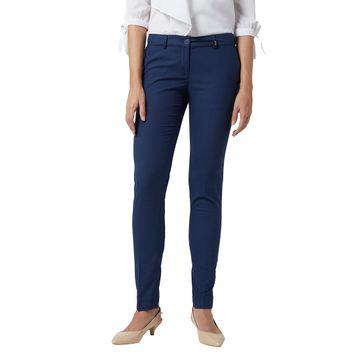 Park Avenue | Park Avenue Women Dark Blue Tapered Fit Trouser