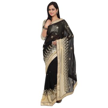 SATIMA | Satima BlackPure GeorgetteEmbroiderd Saree