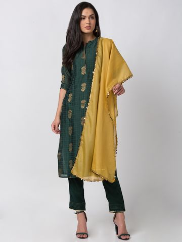 Ethnicity | Ethnicity Green Chanderi Women Kurta Set