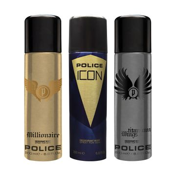 POLICE | Millionaire and Icon and Titanium Wings Deodorant Spray - For Men 600 ML