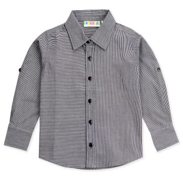 Popsicles Clothing | Popsicles Boys Cotton Striped out Shirt - Black (1-2 Years)