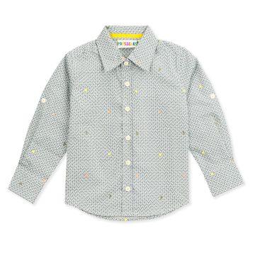 Popsicles Clothing | Popsicles Boys Cotton Lycra Geometric Shirt - White (1-2 Years)