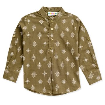 Popsicles Clothing | Popsicles Boys Cotton Tribal Shirt - Green (1-2 Years)
