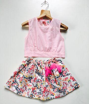 Popsicles Clothing | Popsicles Flamingo Skirt Set Pink  White Regular Fit Dress For Girls
