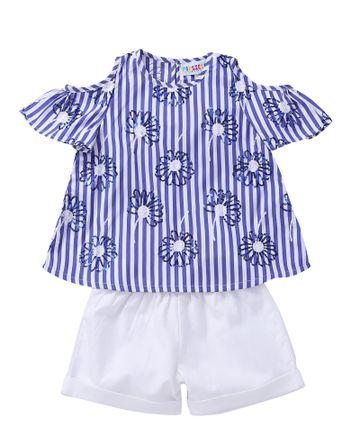Popsicles Clothing | Popsicles Azure Shorts Set Regular Fit Dress For Girl