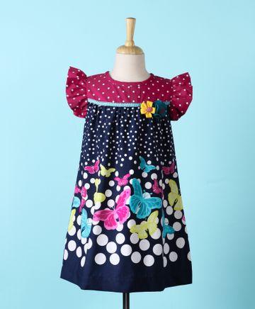 Popsicles Clothing | Popsicles Butterfly Dress Regular Fit Dress For Girl