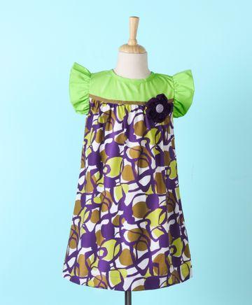 Popsicles Clothing | Popsicles Chartreuse Dress  Regular Fit Dress For Girl