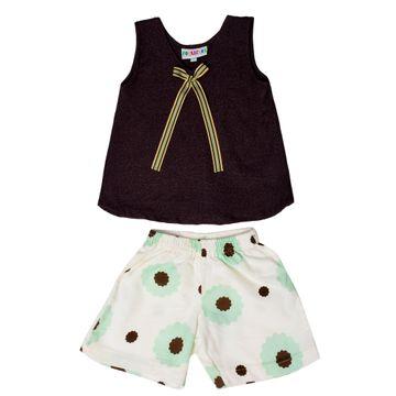 Popsicles Clothing | Popsicles Mohagony Shorts Set Regular Fit Dress For Girl