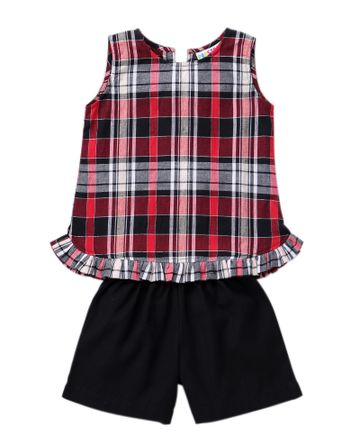Popsicles Clothing | Popsicles Cherry Plaid Shorts Set  Regular Fit Dress For Girl