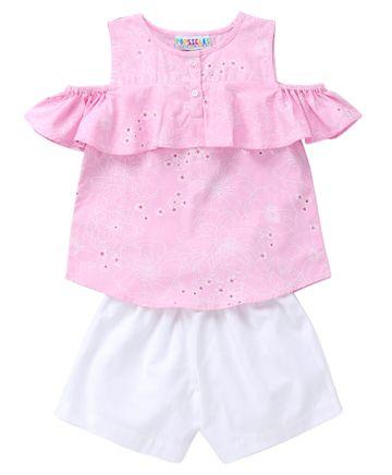 Popsicles Clothing | Popsicles Blush Set Regular Fit Dress For Girl