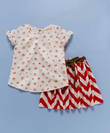 Popsicles Clothing   Popsicles Chevron Skirt Set Red  Off White Regular Fit Dress For Girls