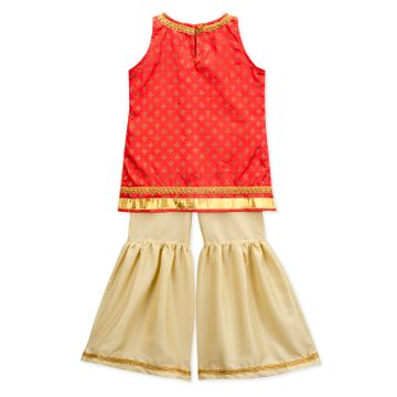 Popsicles Clothing | Popsicles Girls Cotton Silk Punch Sharara Set - Red & Beige (1-2 Years)