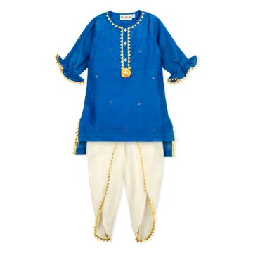 Popsicles Clothing | Popsicles Girls Chanderi Silk Lapis Dhoti Kurta Set - Blue & Off white (1-2 Years)
