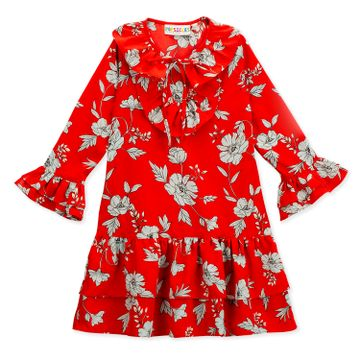 Popsicles Clothing | Popsicles Girls Poly Cotton Wild Flower Dress- Red (1-2 Years)