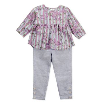 Popsicles Clothing | Popsicles Girls Cotton Linen Blossom Pant Set  - Blue (1-2 Years)